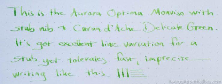 Aurora Optima factory stub nib writing sample