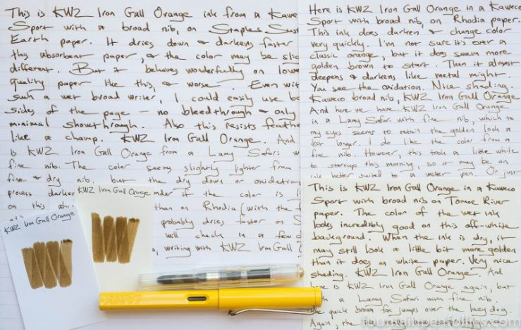 KWZ Iron Gall Orange writing samples