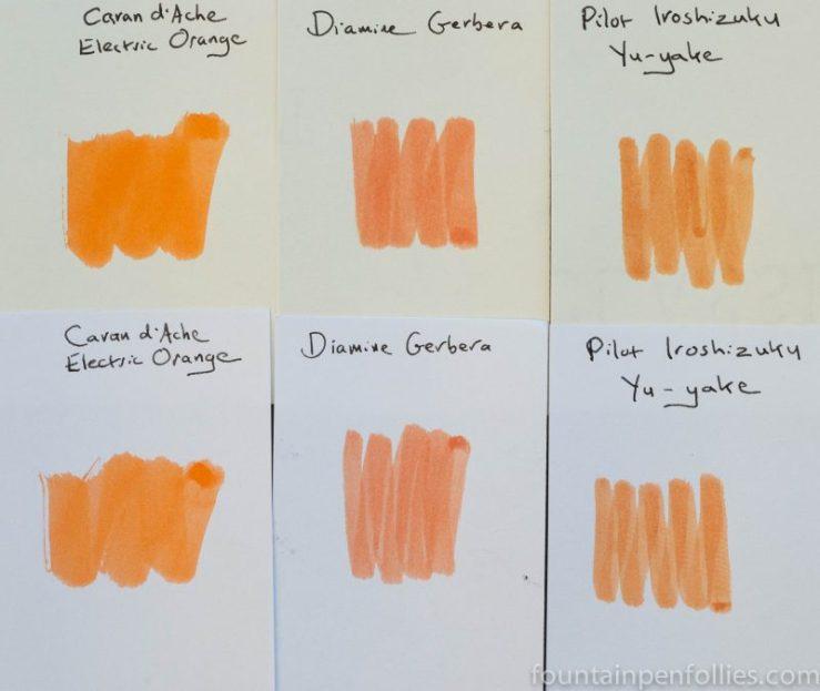 Diamine Gerbera swab comparison