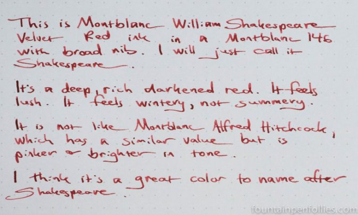 Montblanc William Shakesepare Velvet Red writing sample