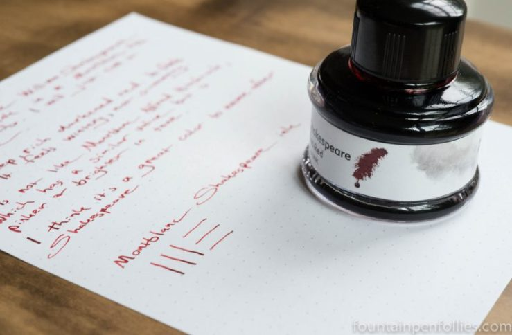 Montblanc William Shakesepare Velvet Red ink and bottle