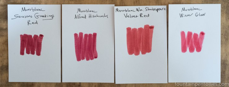 Montblanc William Shakespeare Velvet Red compared to Montblanc limited edition red inks