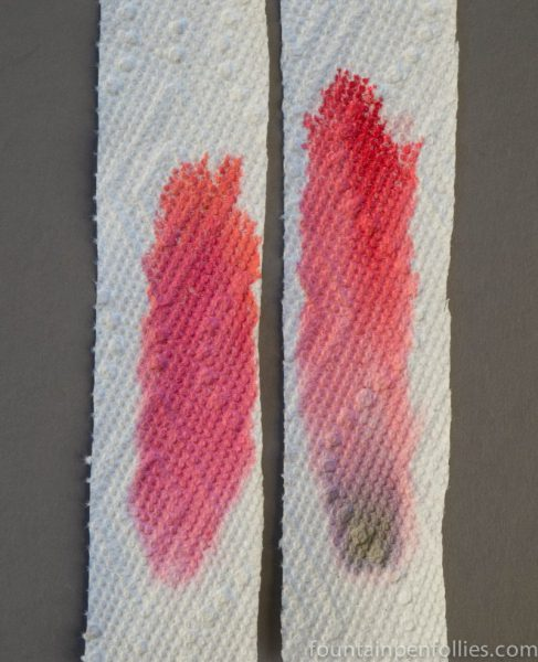 Diamine Carnival and Montblanc Shakespeare ink chromatography