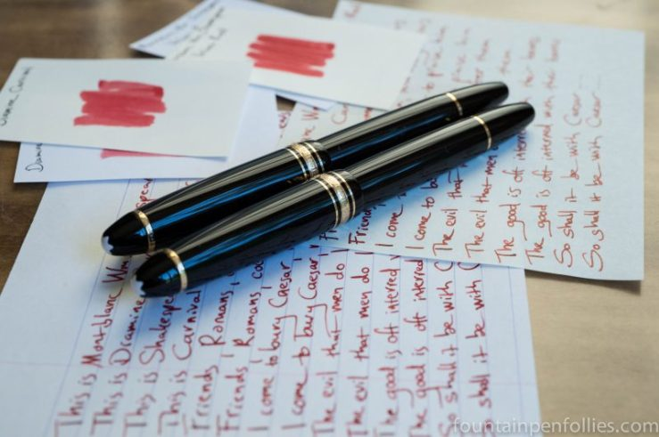 Diamine Carnival and Montblanc Shakespeare ink writing sample comparison