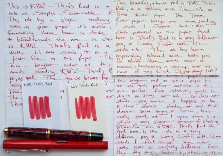 KWZ Thief's Red writing samples and swabs