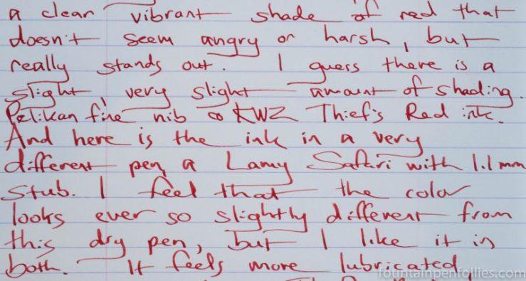 KWZ Thief's Red writing sample