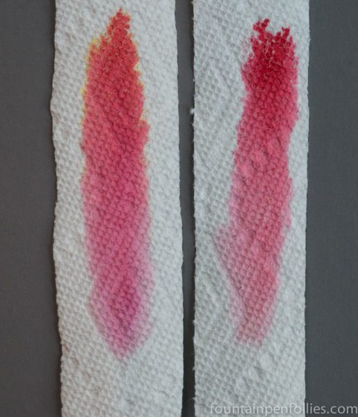 KWZ Thief's Red and Sheaffer Skrip Red ink chromatography comparison