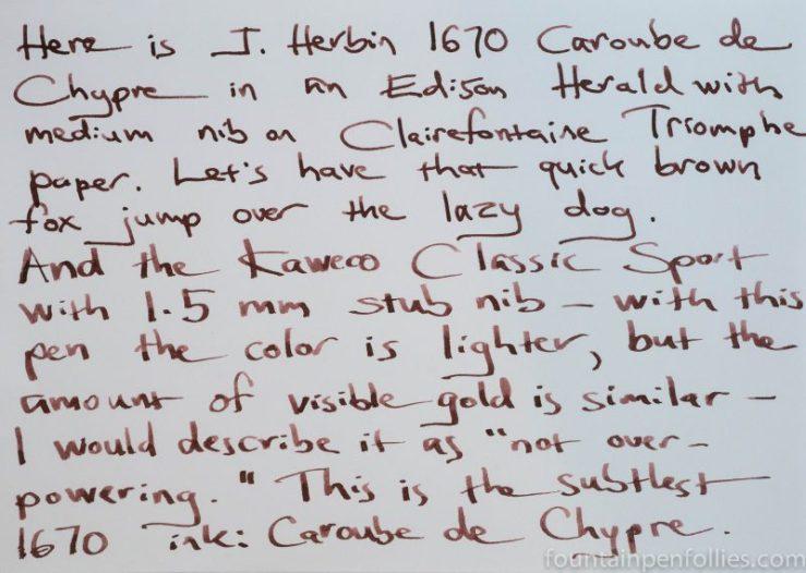 J. Herbin 1670 Caroube de Chypre writing sample