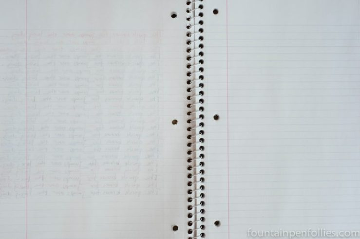Mead 70 Sheet Spiral Notebook reverse side of page
