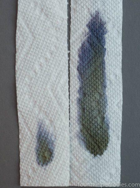 Kaweco Smokey Grey and Pelikan Brilliant Black paper towel chromatography
