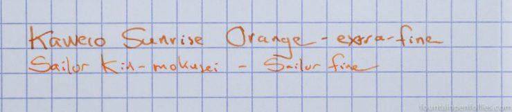 Kaweco Sunrise Orange and Sailor Kin-mokusei