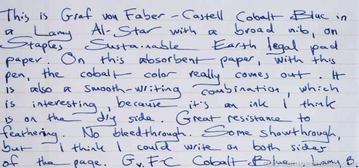Graf von Faber-Castell Cobalt Blue writing sample