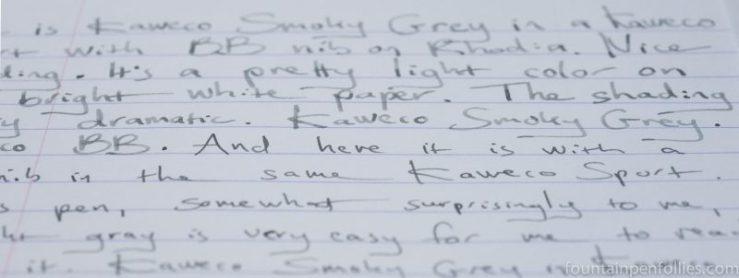 Kaweco Smokey Grey writing sample