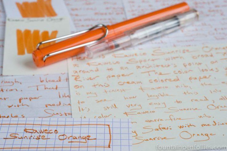 Kaweco Sunrise Orange writing samples