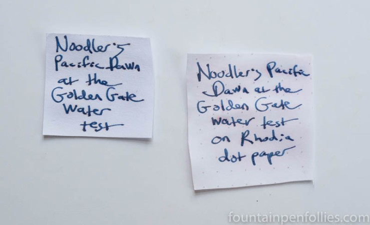 Noodler's Pacific Dawn at the Golden Gate water resistance