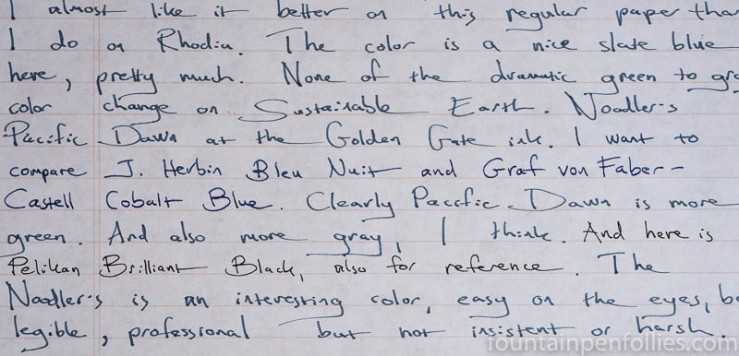 Noodler's Pacific Dawn at the Golden Gate writing sample