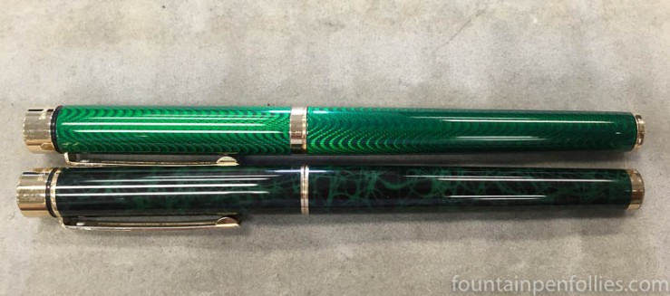 Sheaffer Targa Laque Green Moiré and Malachite Ronce