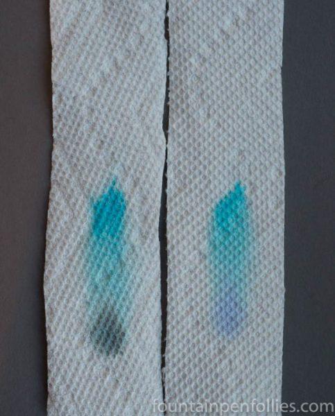 Bung Box Fujiyama Blue and J. Herbin Bleu Azur paper towel chromatography