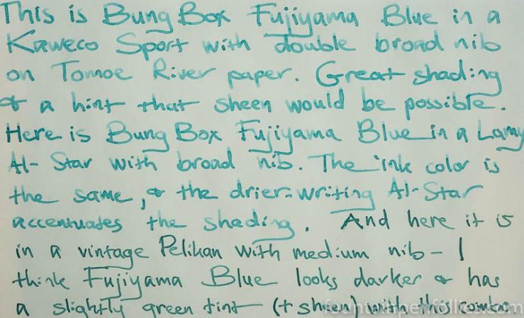 Bung Box Fujiyama Blue writing sample