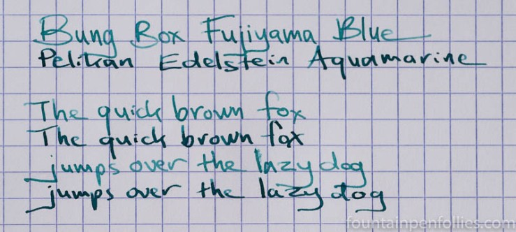 Bung Box Fujiyama Blue and Pelikan Edelstein Aquamarine