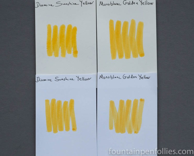 Montblanc Golden Yellow ink swab comparisons