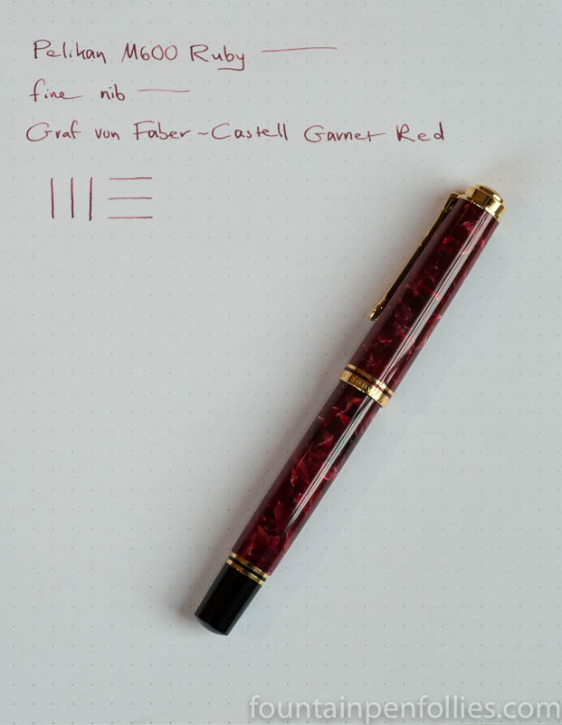Pelikan M600 Ruby Red fountain pen and Graf von Faber-Castell Garnet Red ink