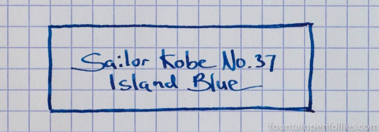 Sailor Kobe No. 37 Island Blue writing sample