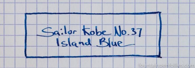 Sailor Kobe No. 37 Island Blue writing sample