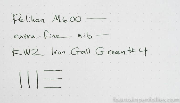 KWZ Iron Gall Green #4 writing sample