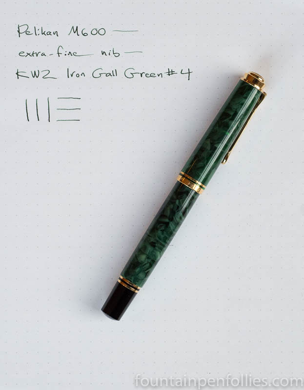 Pelikan M600 Green o' Green with KWZ Iron Gall Green #4
