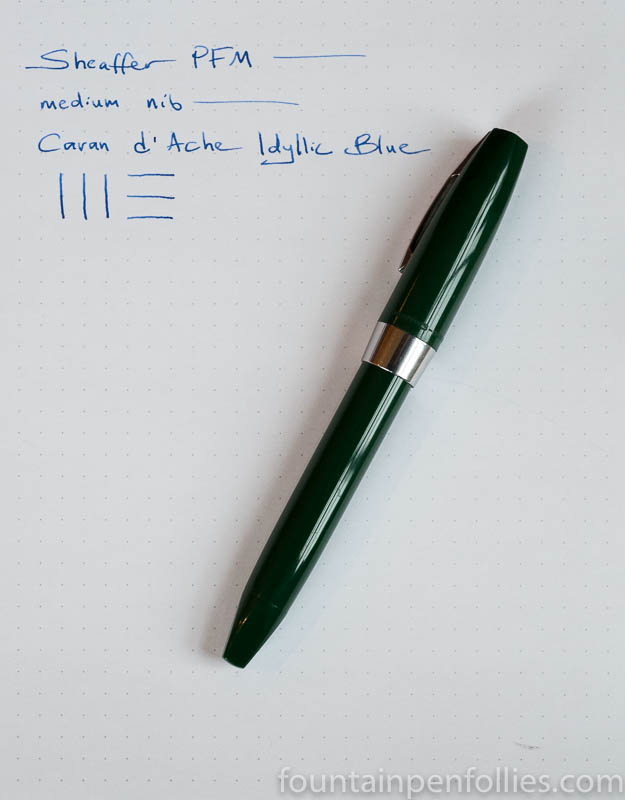 Sheaffer PFM I fountain pen with Caran d'Ache Idyllic Blue ink