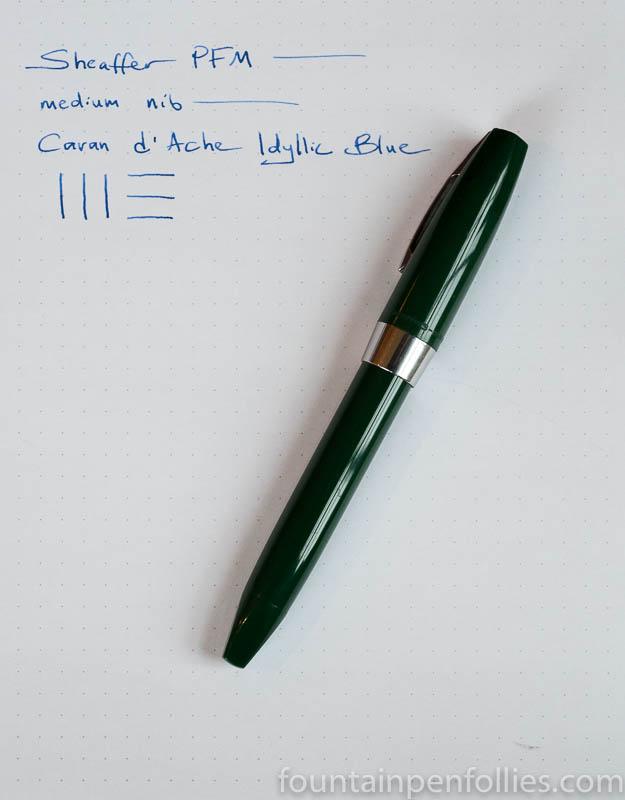 Sheaffer PFM I fountain pen with Caran d'Ache Idyllic Blue ink