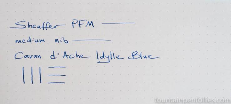 Caran d'Ache Idyllic Blue writing sample