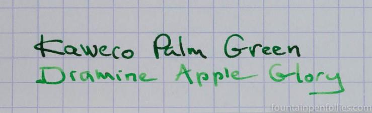 Diamine Apple Glory and Kaweco Palm Green writing samples