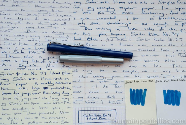 Sailor Kobe No. 37 Island Blue writing samples