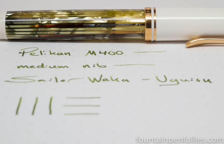 Sailor Waka-Uguisu with Pelikan M400 White Tortoise