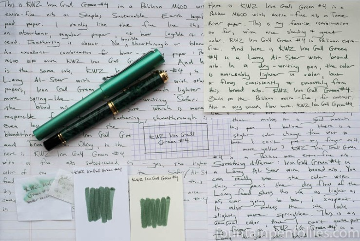 KWZ Iron Gall Green #4 writing samples