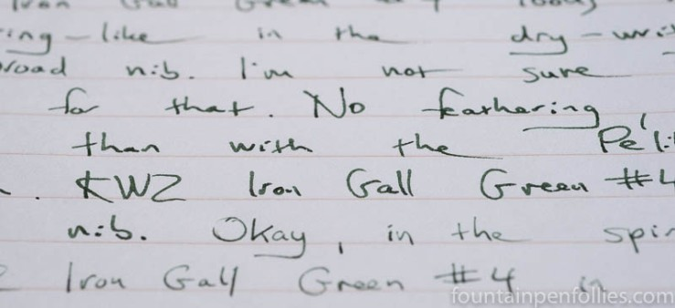 KWZ Iron Gall Green #4 writing sample