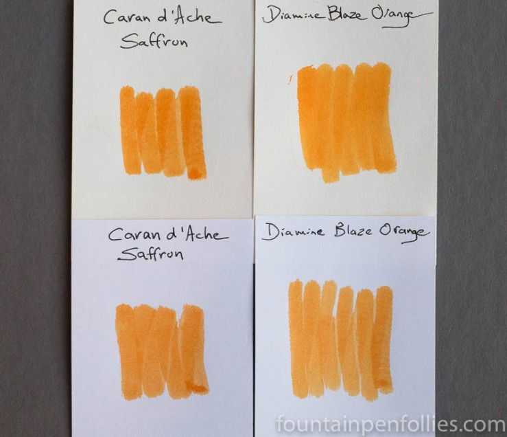 Diamine Blaze Orange swab comparison