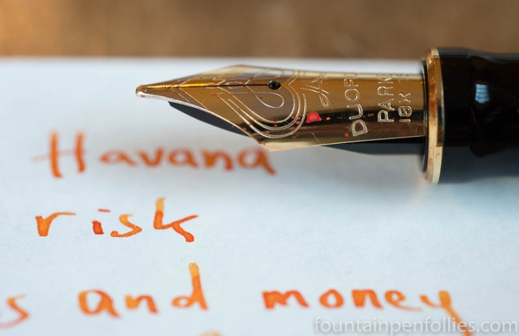 Diamine Blaze Orange writing sample