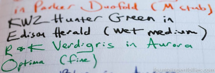 Field Notes Utility Edition paper with fountain pen ink