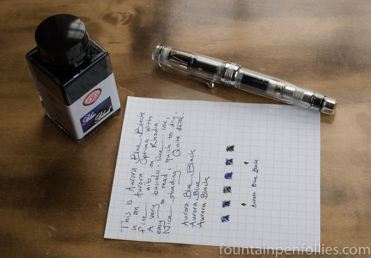 Aurora Blue Black with Aurora Optima demonstrator