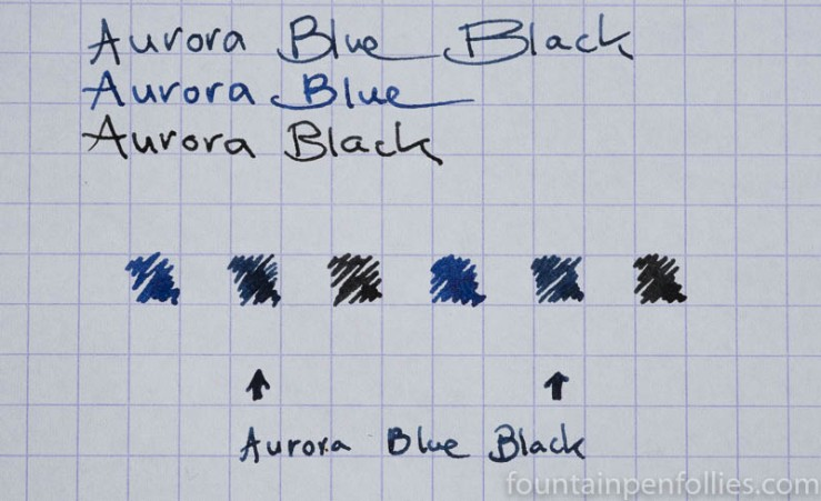 Aurora Blue Black writing sample and comparison