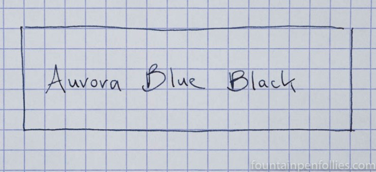 Aurora Blue Black writing sample