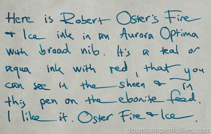 Robert Oster Fire and Ice writing sample