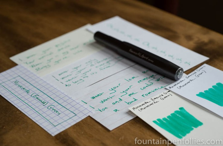 Monteverde Green and Emerald Green writing sample