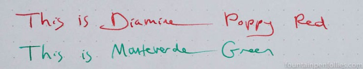 Monteverde Green and Emerald Green writing samples
