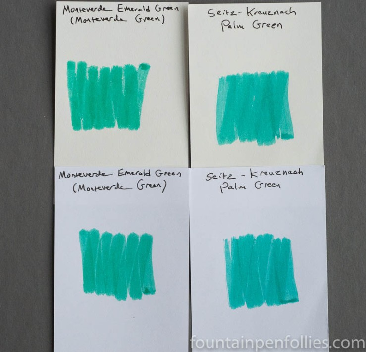 Monteverde Green and Emerald Green swab compared to Seitz Kreuznach Palm Green