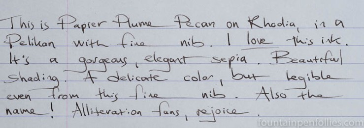 Papier Plume Pecan writing sample