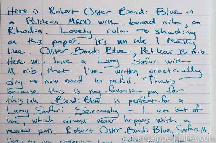 Robert Oster Bondi Blue writing sample